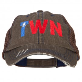 Taiwan TWN Flag Embroidered Low Profile Cotton Mesh Cap