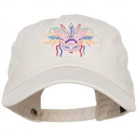 Mardi Gras Feather Mask Embroidered Washed Cap