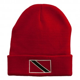 Trinidad Flag Embroidered Long Knitted Beanie - Red