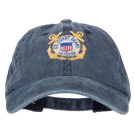 US Coast Guard Veteran Anchors Embroidered Washed Cotton Cap