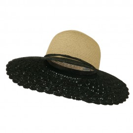 Two Tone Crocheted Sun Brim Hat