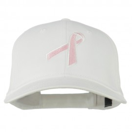 Breast Cancer Ribbon Embroidered Cap - White
