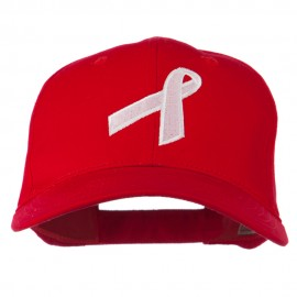 Breast Cancer Ribbon Embroidered Cap - Red