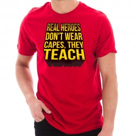 Teachers Are Heroes Phrase Graphic Design Short Sleeve Jersey T-Shirt