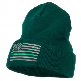 Thin Green Line USA Flag Embroidered Long Beanie