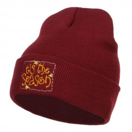Tis the Season Embroidered Long Beanie