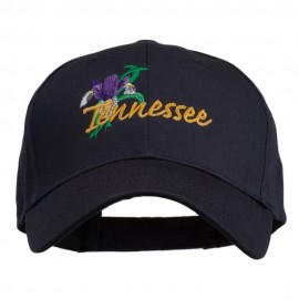 USA State Tennessee Flowers Iris Embroidered Organic Cotton Cap