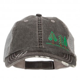 Three Trees Embroidered Cotton Mesh Cap