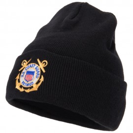US Coast Guard Retired Anchors Embroidered Long Beanie