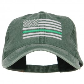 Thin Green Line Silver USA Flag Embroidered Washed Cap