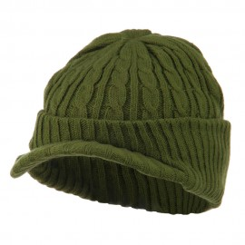 Twist Knitted Cuff Beanie with Visor - Olive