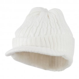 Twist Knitted Cuff Beanie with Visor - White
