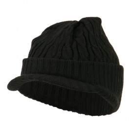 Twist Knitted Cuff Beanie with Visor - Black