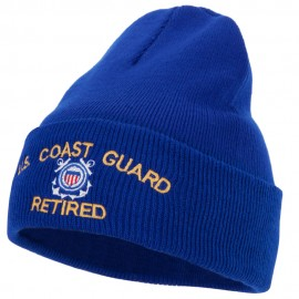 US Coast Guard Retired Logo Embroidered 12 Inch Long Knitted Beanie