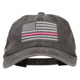 Thin Pink Line Silver USA Flag Embroidered Washed Buckle Cap