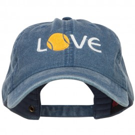 Love with Tennis Ball Embroidered Washed Cotton Cap