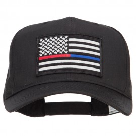 Thin Red Blue Line USA Flag Patched Twill Cap