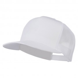 5 Panel Mesh Trucker Snapback Cap - White