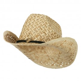 Two Tone Natural Straw Cowboy Hat with String Band