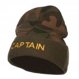 Captain Embroidered Camo Long Beanie