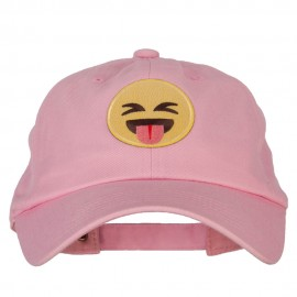 Tongue Out Emoji Patched Unstructured Washed Cap