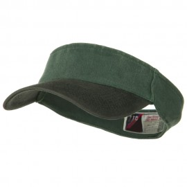 Two Tone Washed Pigment Dyed Flex Sun Visor - Black Dark Green