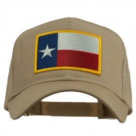 Texas State Flag Patched Mesh Cap - Khaki