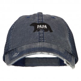 Papa Bear Embroidered Low Profile Cotton Mesh Cap
