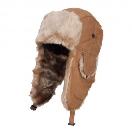 Suede Solid Faux Fur Trooper Hat - Chestnut