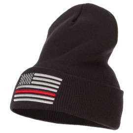 Thin Red Line USA Flag Embroidered Long Beanie