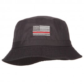 Thin Red Line USA Flag Embroidered Bucket Hat