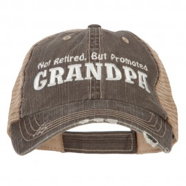Not Retired Promoted Grandpa Embroidered Low Cotton Mesh Cap