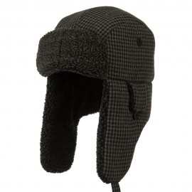 Big Size Tweed Sherpa Lining Trooper Hat-Black