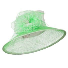 Two Tone Sheer Flower Accent Sinamay Hat