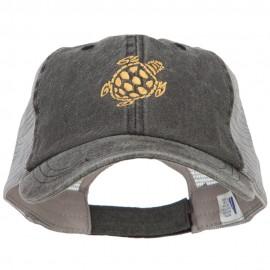 Turtle Shape Embroidered Washed Trucker Cap
