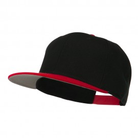Two Tone Superior Cotton Twill Flat Bill Snapback Cap - Red Black