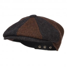 Men's Two Tone Wool 8 Panel Newsboy Hat