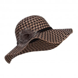 Houndstooth Wool Fur Trim Hat