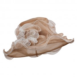 Two Tone Ruffle Accent Organza Hat - Natural