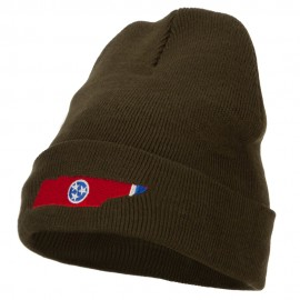 Tennessee Flag Map Embroidered Long Beanie