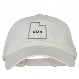 Utah with Map Outline Embroidered Washed Cotton Twill Cap