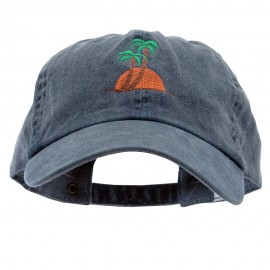 Sunset and Palm Trees Embroidered Pigment Dyed Wash Cap - Navy
