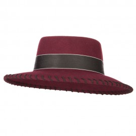 Women's Wool Felt Wide Ribbon Band and Stitching Detailed Brim Gambler Hat