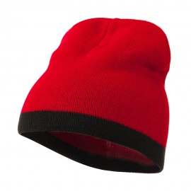 Two Tone Short Beanie - Red Black