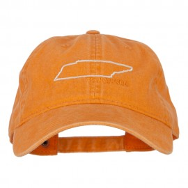 Tennessee with Map Outline Embroidered Washed Cotton Twill Cap