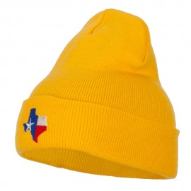 Texas Flag Map Embroidered Long Beanie