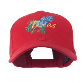 USA State Flower Texas Bluebonnet Embroidered Cap - Red