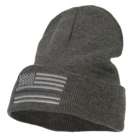 Thin Grey Line USA Flag Embroidered Long Beanie