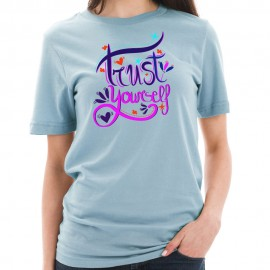 Trust Yourself Phrase Graphic Design Short Sleeve Cotton Jersey T-Shirt