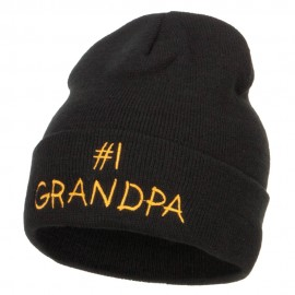 Number 1 Grandpa Embroidered Long Beanie